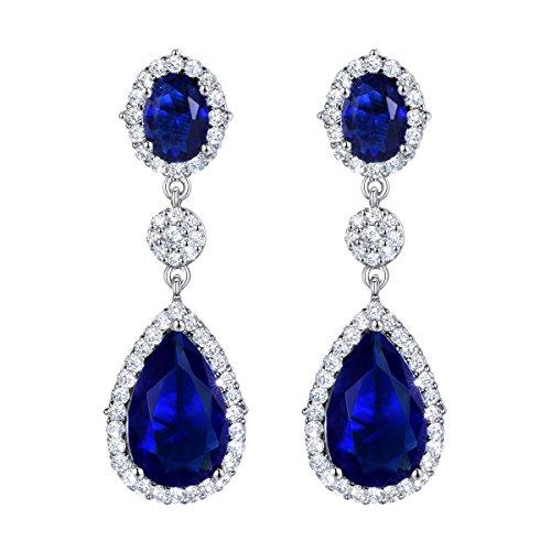 SELOVO Art Deco Pierced Drop Earrings Party Earrings Silver Tone Cubic Zirconia (Sapphire Pierced Earrings)