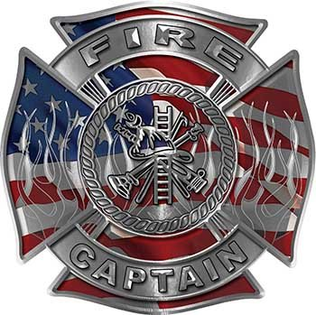 Fire Captain Maltese Cross with Flames Fire Fighter Decal with American Flag ()