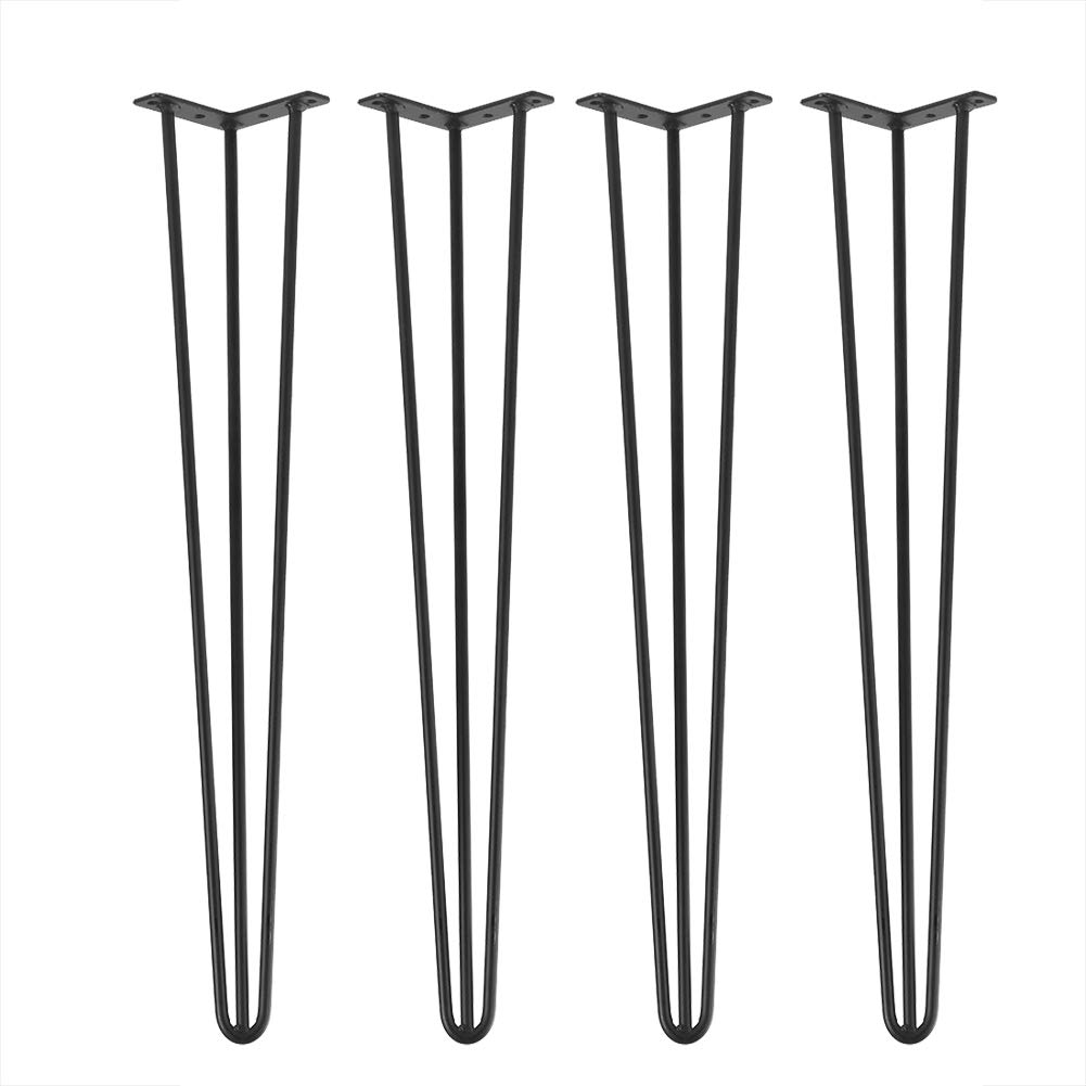 Hairpin Table Leg, 30'' Heavy Duty Industrial Metal Leg 3 Rod Coffee Table Leg for Home Furniture DIY Office Desk End Table Night Stand, Set of 4