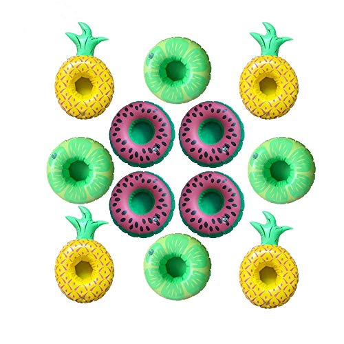 SoEasy 12 Pack Inflatable Pool Party Drink Floats, Fruit Shape Drink Holders(4 Pineapple+4 Lime +4 Watermelon) by Kaptin