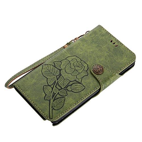 MEIRISHUN Leather Wallet Case Cover Carcasa Funda con Ranura de Tarjeta Cierre Magnético y función de soporte para Samsung Galaxy Note 4 - Azul Verde