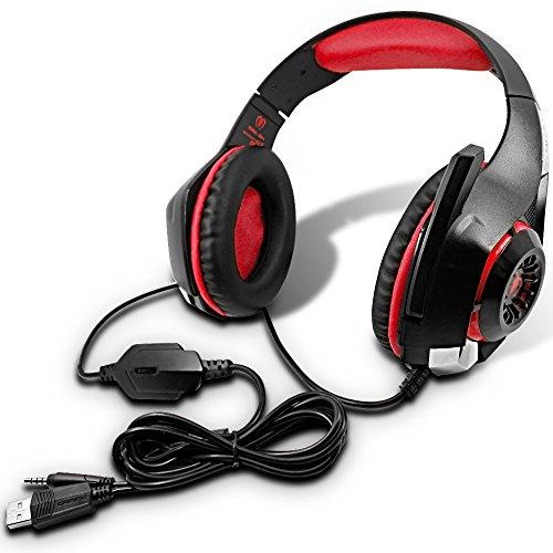 AFUNTA GM-1 Gaming Headset Compatible Nuevo Xbox One PS4 PC Tableta Celular, Auricular estéreo con retroiluminación LED y micrófono rojo