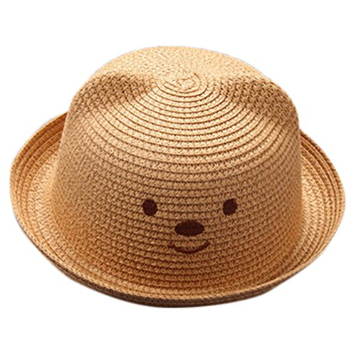 SMALLE Summer Baby Boy Girls Bear Printed Cartoon Children Breathable Hat Straw Hat Kids Cap (50-54cm(Head Circumference), Coffee)