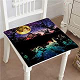 Mikihome Indoor/Outdoor All Weather Chair Pads at Light Printed Wall Blue Black Seat Cushions Garden Patio Home Chair Cushions 24''x24''x2pcs
