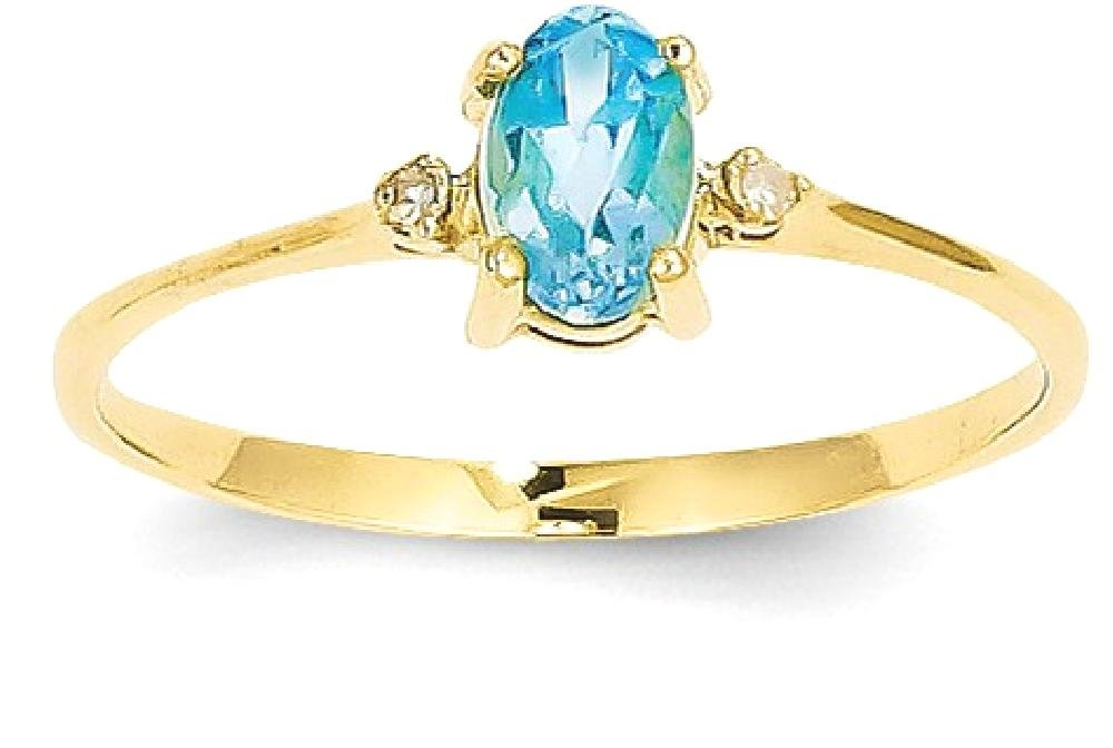 ICE CARATS 14k Yellow Gold Diamond Blue Topaz Birthstone Band Ring Size 6.00 Stone December Oval Style Fine Jewelry Gift Set For Women Heart