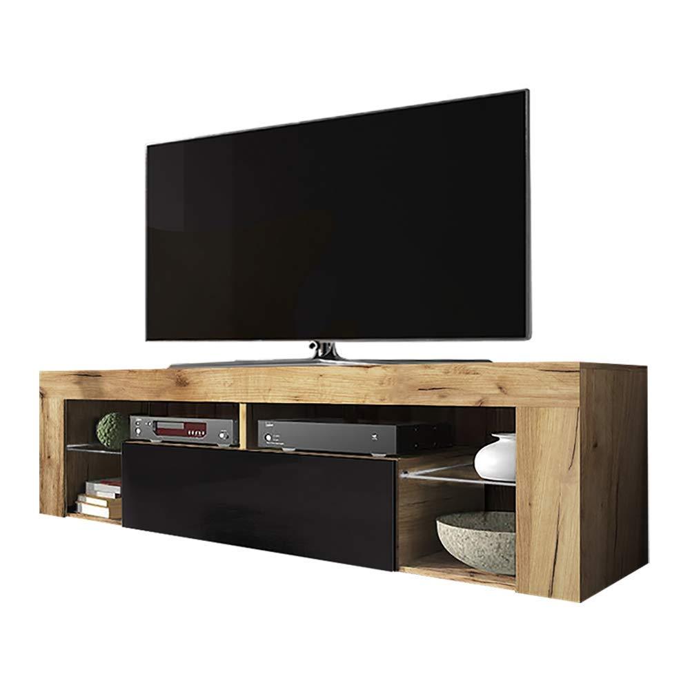 Lancaster Eiche//Schwarz Selsey Hugo Lowboard//TV-Schrank in Holz-Optik mit Klappe Hochglanz Stehend 35 x 140 x 51 cm