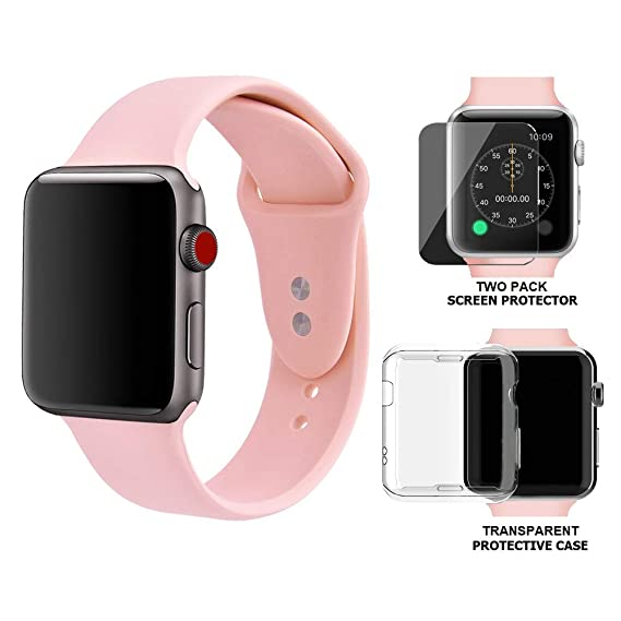 buy popular ac576 99bf5 Palestrapro iPhone Watch Band 38mm Compatible with Apple Watch Series 3 and  Series 2 | Silicone Pink Sport Strap with 2-Pack Tempered Glass Screen ...
