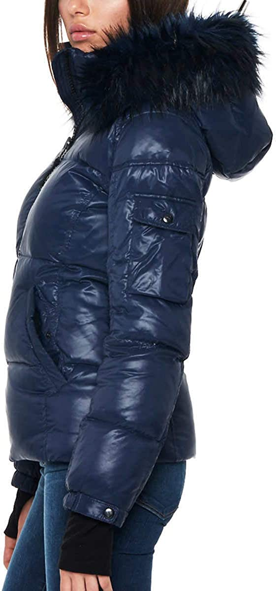S13 Womens Kelly Hip Length Down Puffer Faux Fur Hood