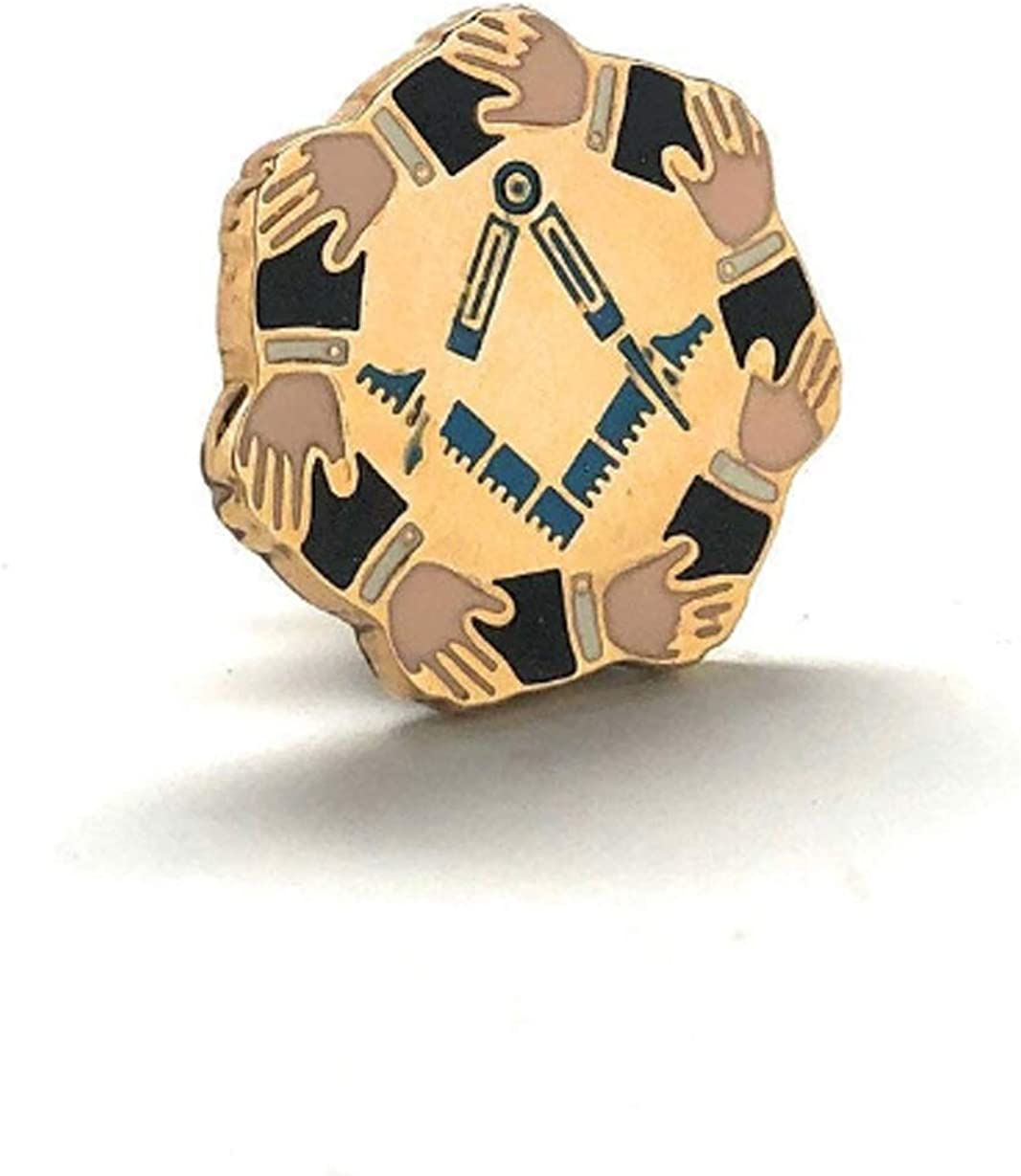 Enamel Pin Masonic Symbol Lapel Pin Freemason Mason Hands Gold Tone Compass and Square Tie Tack