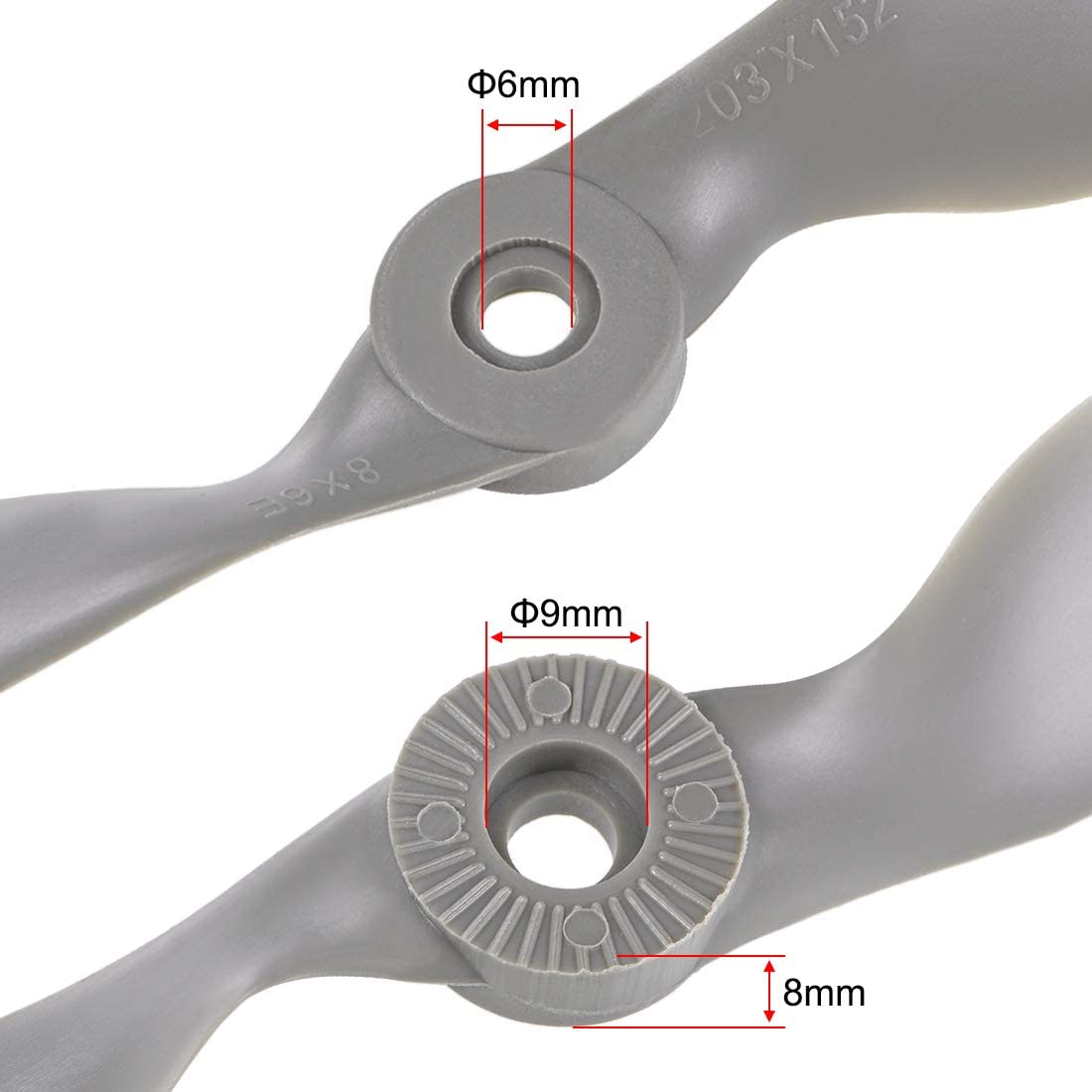 uxcell RC Propellers CW 10x7 Inch 2-Vane for Airplane Toy Nylon Gray 3Pcs with Adapter Rings