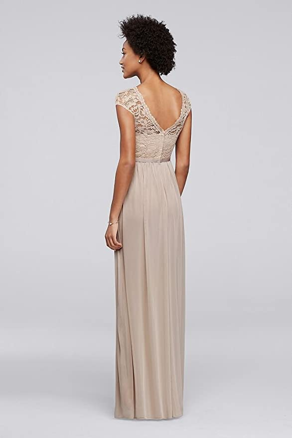 David\'s Bridal Long Bridesmaid Dress with Lace Bodice Style F19328 ...