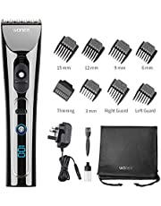 WONER Professional Hair Clipper Cordless Clippers Hair Trimmer Electric Haircut Kit Beard Shaver with 6 Guide Combs & LED Display 2000mAh Lithium Ion, cordless clipper for men Dad Boyfriend