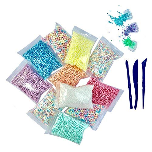 15 Pack Supplies Kit - Include Rainbow Pastel Colors Foam Balls & Confetti Stars + Slime Tools Set | Perfect for Your Kids DIY Homemade Slime Art Craft Decorations ()