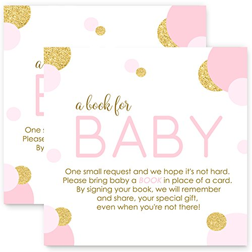 Abstract Pink & Gold Bring a Book for Baby Invitation Insert Girls (25 pc.)