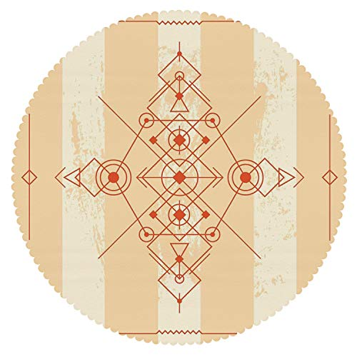 iPrint Upscale Round Tablecloth [ Modern,Minimalist Style Geometric Abstract Circles Triangles Squares Illustration,Sand Brown Orange ] Decorative Tablecloth Ideas