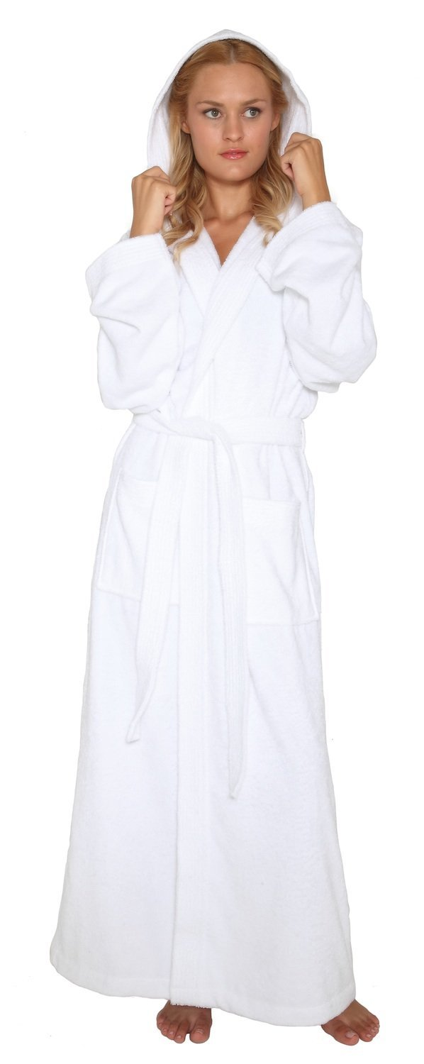 Arus Women's Pacific Style Full Length Hooded Turkish Cotton Bathrobe L White by Arus