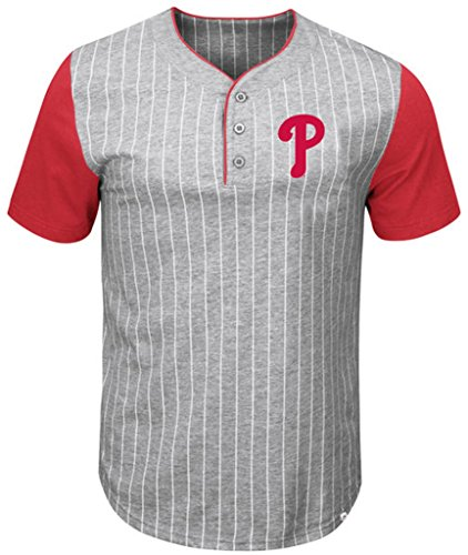 (VF Philadelphia Phillies MLB Mens Majestic Life Or Death Pinstripe Henley Shirt Gray Big & Tall Sizes (4XT))