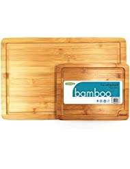 Set of 2 Thick Wooden Cutting Boards with Carrying Handles and Juice Grooves - 100% Natural Bamboo - Ideal for Slicing and Serving Meat, Cheese, and Fruit