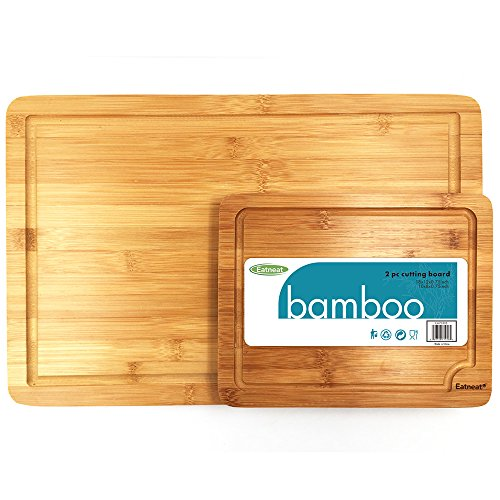 (Set of 2 Thick Wooden Cutting Boards with Carrying Handles and Juice Grooves - 100% Natural Bamboo - Ideal for Slicing and Serving Meat, Cheese, and Fruit)