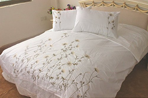 MZPRIDE 100% Handmade Embroidery Duvet Cover Set Rustic Dandelion Embroidered Bed Cover Cotton Bedding Set 3Pcs