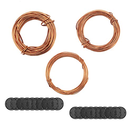 Fashionclubs Bonsai Wires Set, Bonsai Tree Coaching Wires Aluminum Craft Wires Measurement 1.0mm/1.5mm/2.0mm(Every Measurement is 32ft), with 20pcs Flower Pot Gap Mesh Pad Bonsai Backside Grid Mat Mesh 2Inch in Dia