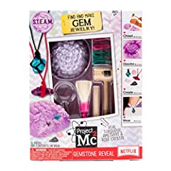 Unveil precious stones through fizzing excavation with the project MC2 gemstone reveal! Hidden beneath a powdery purple gemstone lies sparkling turquoise, amethyst and rose crystals. Use the excavation tools to chisel your way through to the ...