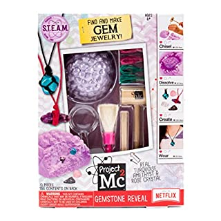 Project Mc2 Gemstone Reveal Stem Science Kit by Horizon Group USA, Excavate, Dig Or Fizz & Bubble to Reveal 5 Real Gemstones for DIY Jewelry Making. Includes Excavation Tools, Magnifying Glass & More