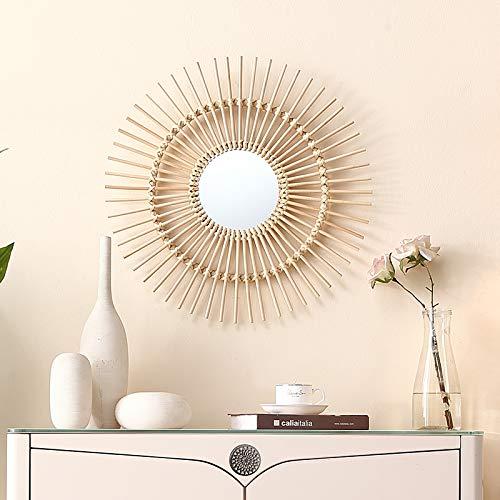Vintage Rattan (RISEON Boho Mid-Century Vintage Moroccan Style Halo Wicker Mirror, Bamboo Rattan Sunburst Mirror, Hanging Wall Mirror, Round Room Entryway Mirror (575725cm))