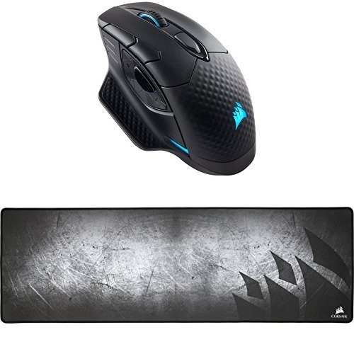 CORSAIRDARKCORERGB SE Performance Wired / Wireless Gaming Mouse with Qi Wireless Charging, Black, Backlit RGB LED, 16000 DPI, Optical and CORSAIR MM300 - Anti-Fray Cloth Gaming Mouse Pad - High-Performance Mouse Pad Optimized for Gaming Sensors - De