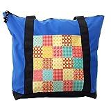 Lunarable Patchwork Shoulder Bag, Gingham Style Tile Design, Durable with Zipper