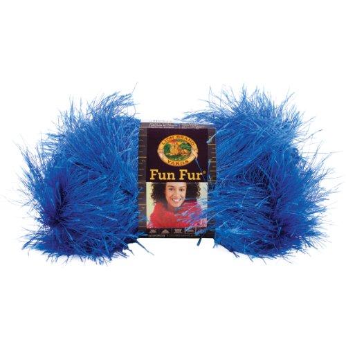 Lion Brand Yarn 320-110 Fun Fur, Cobalt