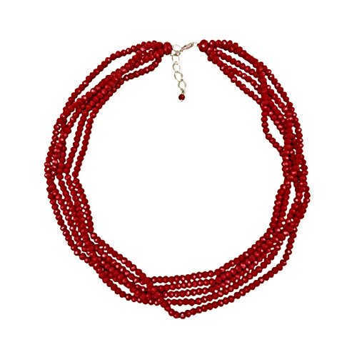 MGR Short Multi-Strand Layered Bib Collar Statement Beaded Crystal Necklace in Garnet Red. (Short Bead Necklaces)