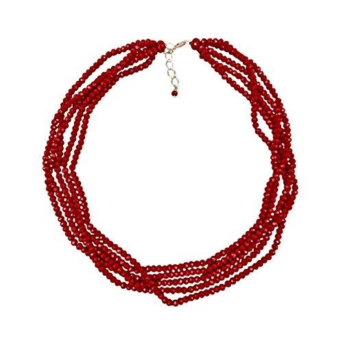 - MGR Short Multi-Strand Layered Bib Collar Statement Beaded Crystal Necklace in Garnet Red.