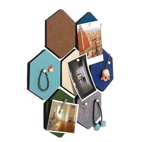 Thehaki Sandwich Felt Board Hexagon type Memo Board Wall Decoration Home Deco (Combination 7pcs - Hexagon Products