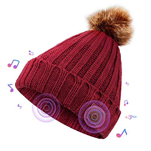 Onesiall Bluetooth Beanie Hat Headphones [Upgraded], Bluetooth 4.2 Headset Winter Music Hat Knit Cap with Stereo Speaker, Microphone, Hand-Free Compatible with Cellphone/iPad and So On.