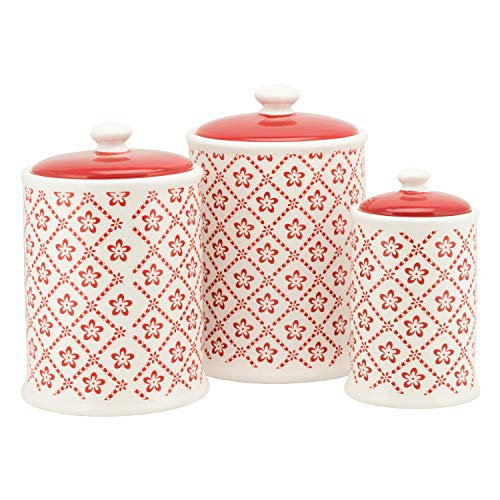 10 Strawberry Street CAN-DFLWR-WHTR-SET Diamond Flower Ceramic Canister, 3 Piece, -