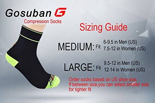 Gosuban Plantar Fasciitis Socks, Low Cut Compression sock(Black,Medium)