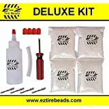 E-Z Tire Balance Beads Deluxe Kit Light Truck 12 oz Four-Pack (4 bags of 12 oz) 48 Ounces Total Balancing Beads, Applicator Kit, Filtered Valve Cores, Red Caps