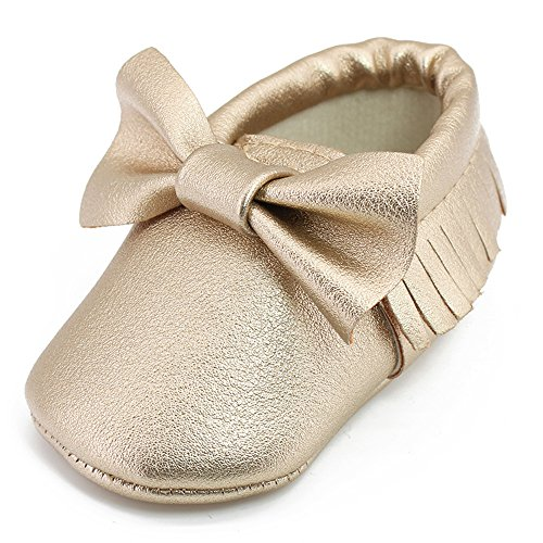 OOSAKU Infant Tolddler Baby Soft Sole PU Leathe Bowknots SHOES (12-18 Months, Gold)