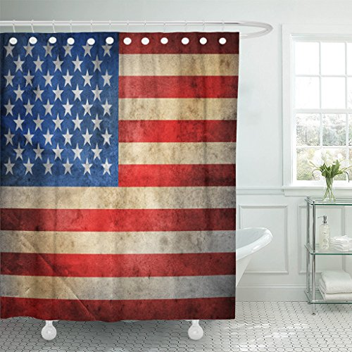 Emvency Fabric Shower Curtain Curtains with Hooks Blue American Grunge USA Flag Red America United Vintage Americana Rustic Military Faded 72''X72'' Waterproof Decorative Bathroom by Emvency