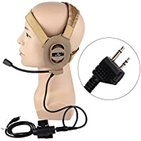 AIRSOFTPEAK Bowman Elite II Tactical Military Headset with U94 Kenwood Version Pins PTT Tan