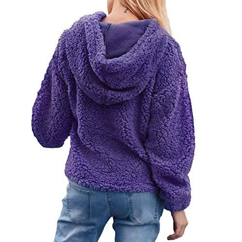 8 Capuche Capuche Femme Hoodie Polaire Sweatshirt Artificielle Pullover Hiver Violet Sweater GongzhuMM Pull 34 Sweats Femme Laine Chandail 44 EU Sweats qwRgPq