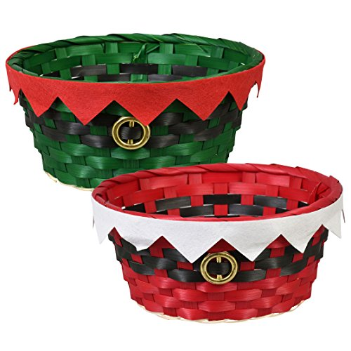 Festive Woven Bamboo Holiday Character Baskets - Set of 2 -