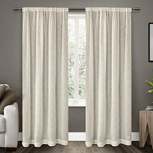 Jacquard Rod Pocket Curtains - Exclusive Home Belgian Textured Linen Look Jacquard Sheer Rod Pocket Curtain Panel Pair, Snowflake, 54x84, 2 Piece