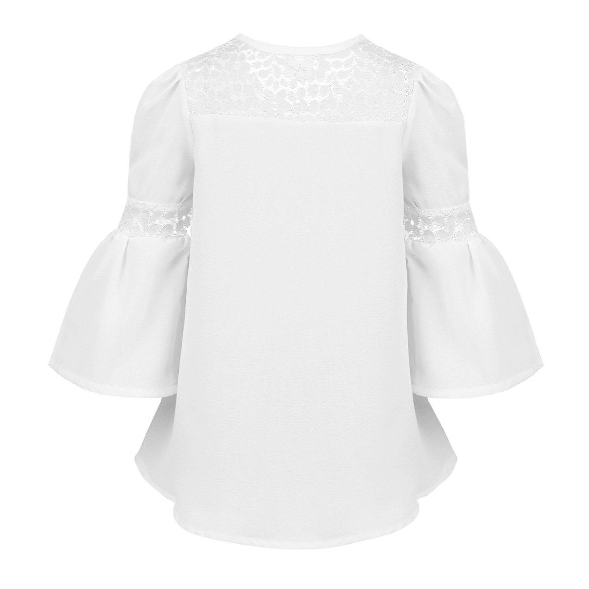 01d74db37 Freebily Blusa Camiseta para Niñas Camisa de Encaje Gasa para la Primavera,  Otoño, Verano (4-16 Años)