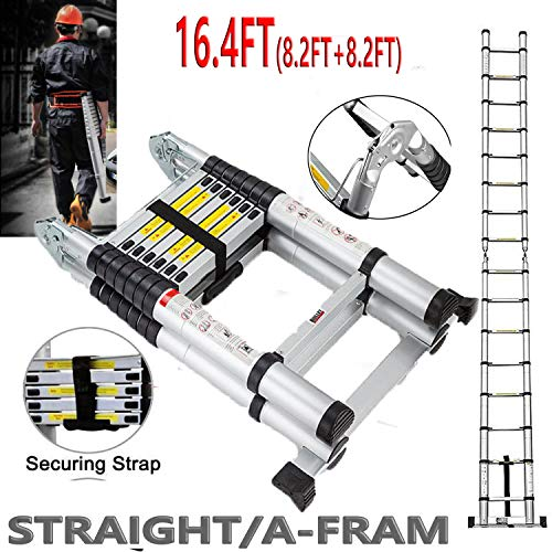 5M Aluminium Telescoping Ladder Extendable Portable Ladder EN131 Standards Space-Saving (8.4FT+8.4FT)16.4FT