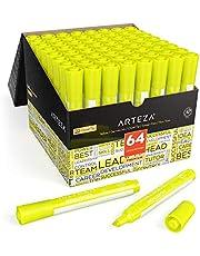 ARTEZA Subrayadores amarillos a granel | Pack de 64 | Punta ancha biselada | Marcadores resaltadores de color amarillo para la oficina y el colegio, para niños y adultos
