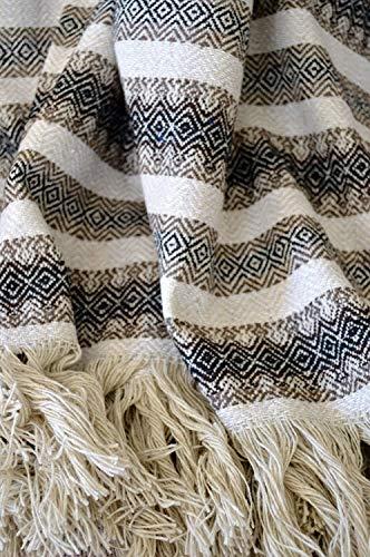 Galaxy Reborn Mexican Blanket Handwoven MEDIUMWEIGHT 80 X 50 Herringbone Tan Brown Black Bohemian Throw Handwoven Serape Nursery Blanket