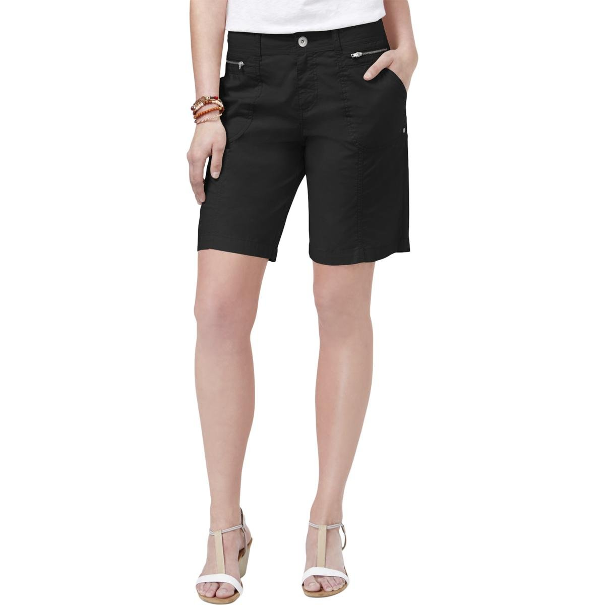 Style & Co. Womens Petites Mid-Rise Front Zip Casual Shorts Black 6P