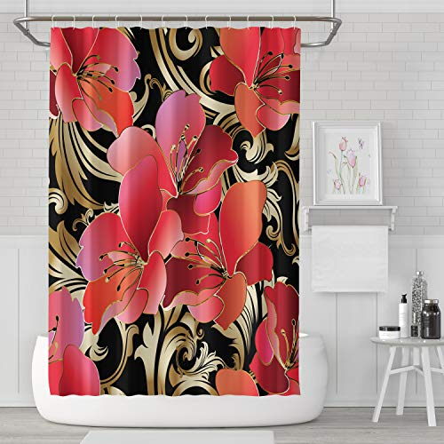 (ASOCO Fabric Shower Curtain,Floral Black Vintage Leaves Damask Style Pattern 72X72 Home Polyester)